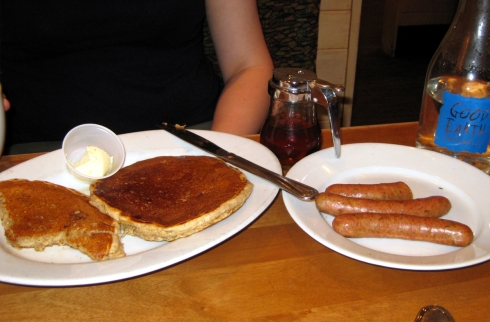 Lauren ordered some 10-grain hotcakes and turkey sausage.