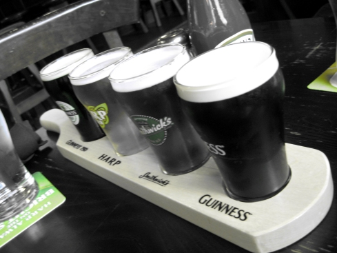 Lauren also slammed back sample-sized Guinness brews.
