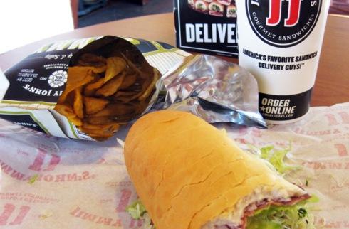 Jimmy John's #14 Bootlegger Club, Jalapeno chips, and fountain soda